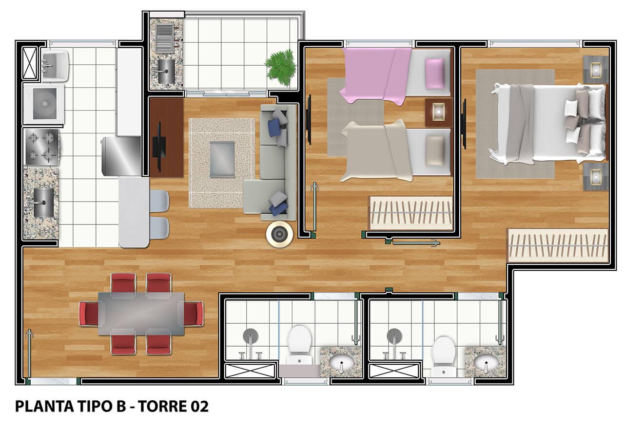 Torre 02 - Planta Tipo B